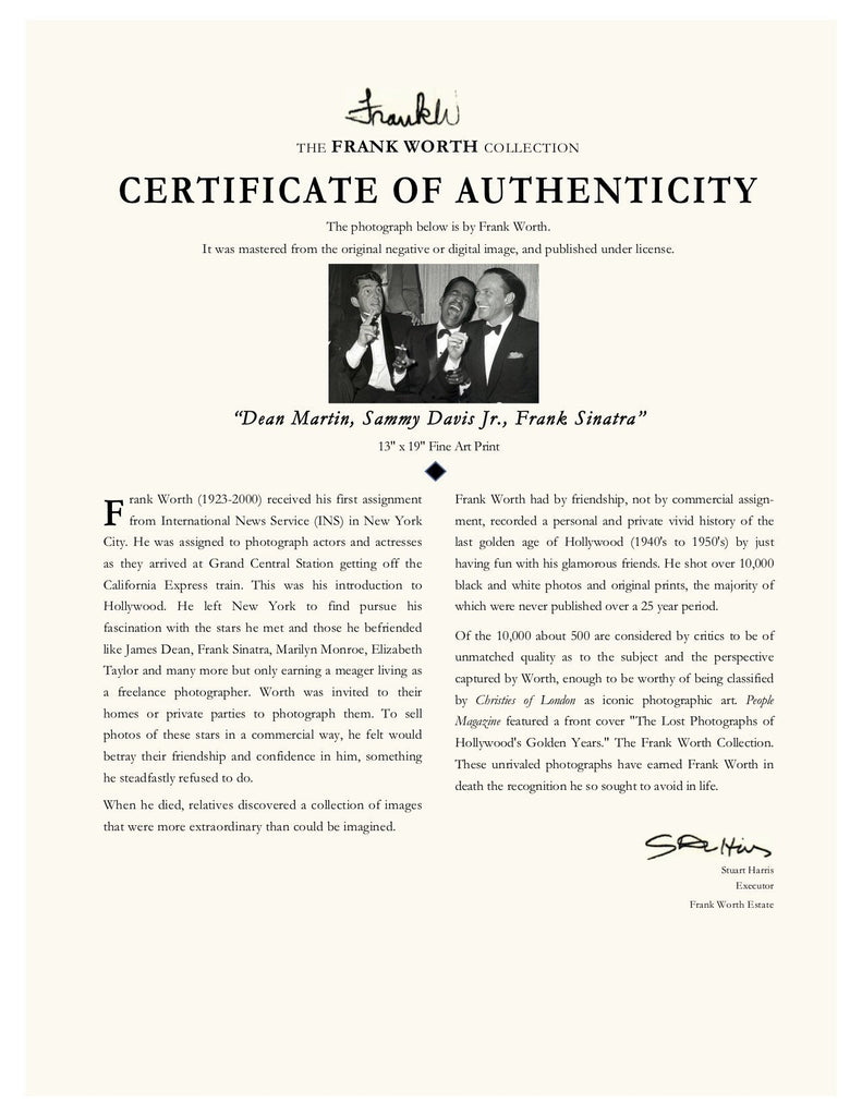 "Frank Worth Collection ""Dean Martin, Sammy Davis Jr., Frank Sinatra"" w/coa - Global Images Gallery"