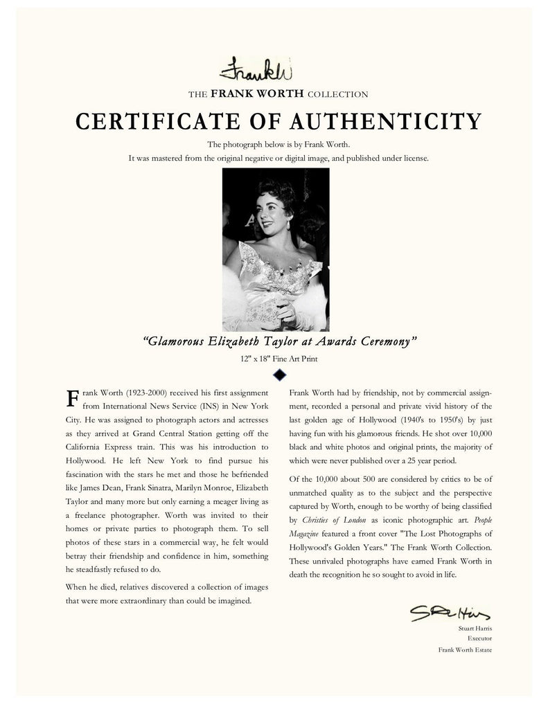 "Frank Worth Collection ""Elizabeth Taylor, Glamorous"" w/coa - Global Images Gallery"