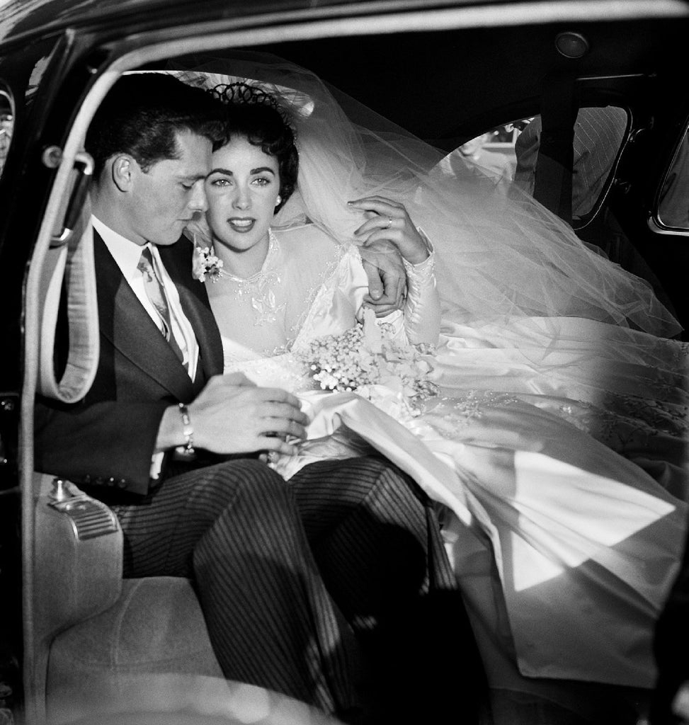 Elizabeth Taylor in Car on Wedding Day by Frank Worth Photography-Global Images-Global Images