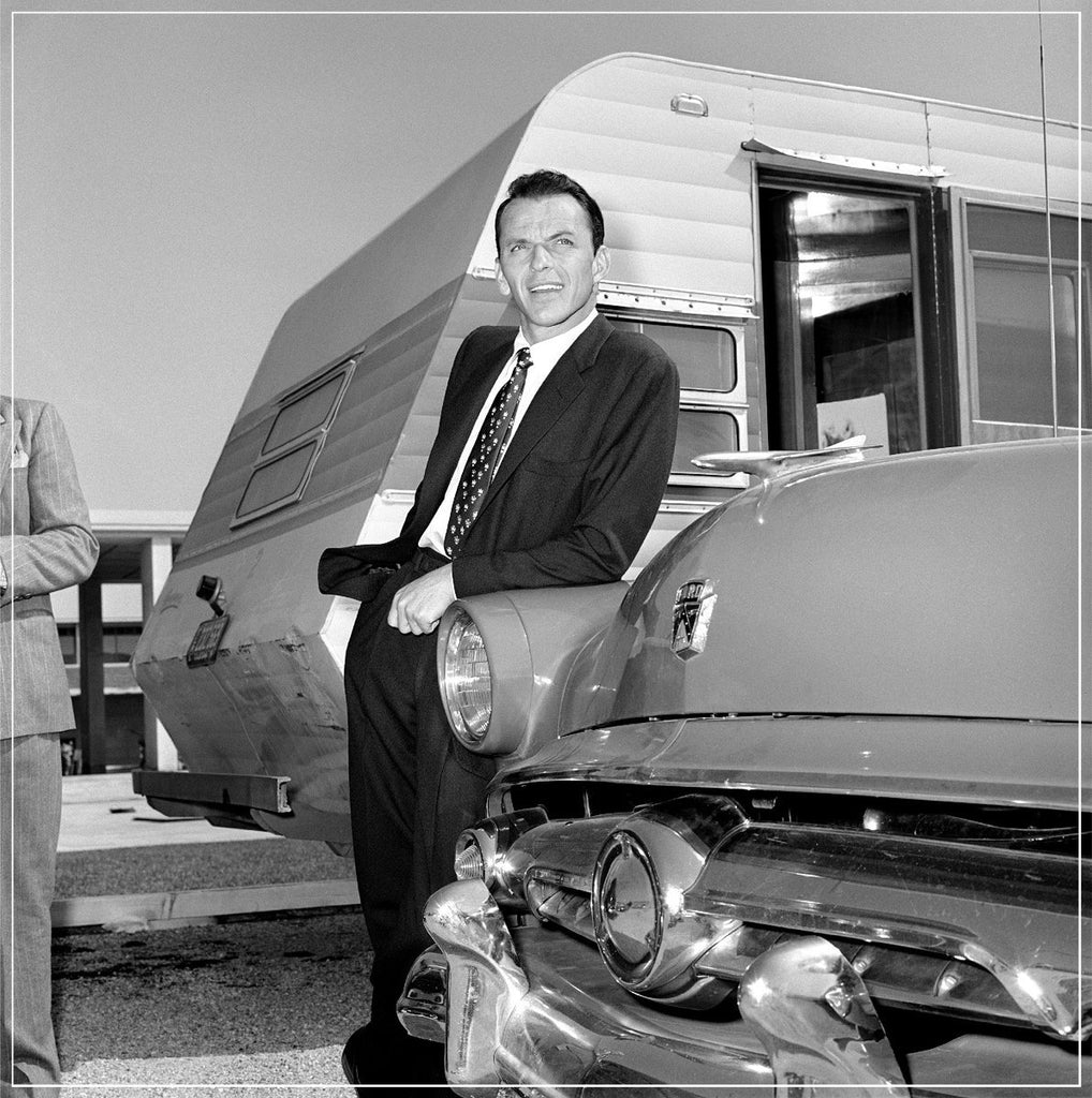 Frank Sinatra Outside Trailer, Leaning On Car by Frank Worth Photography