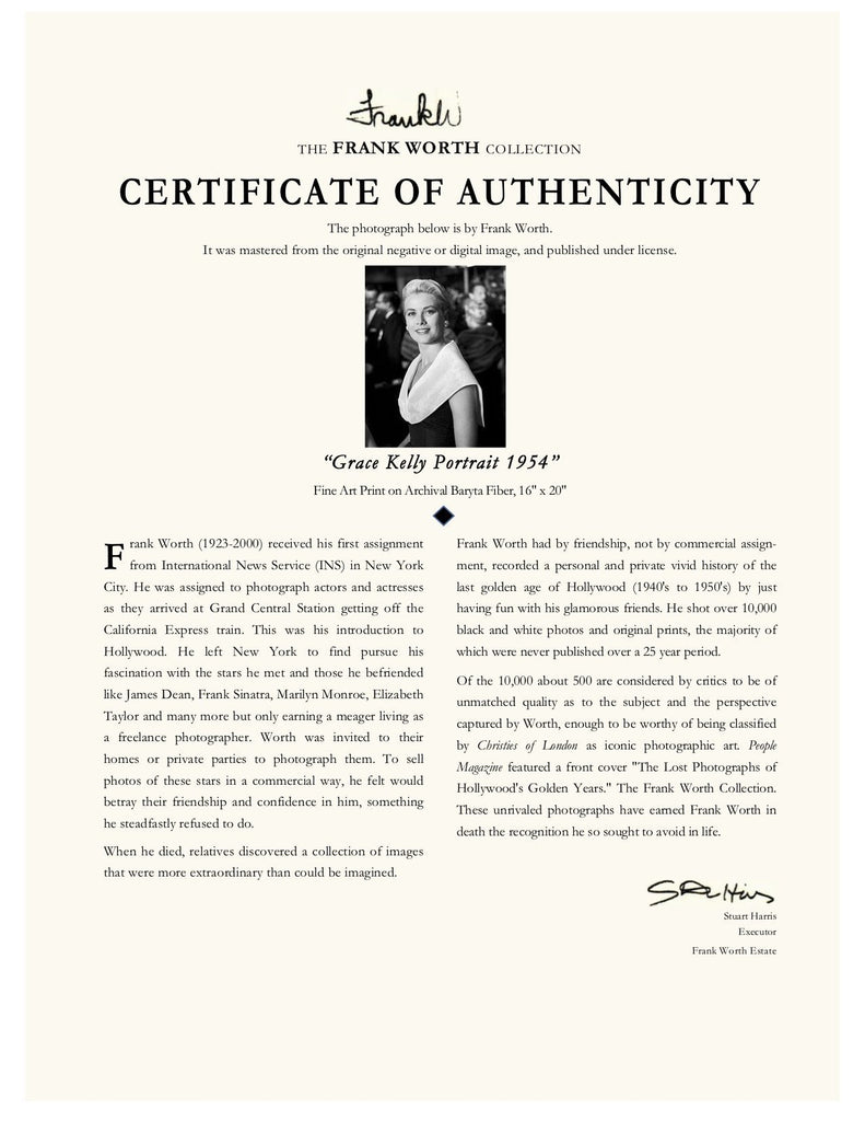"Frank Worth Collection ""Grace Kelly Classic Portrait"" w/coa - Global Images Gallery"