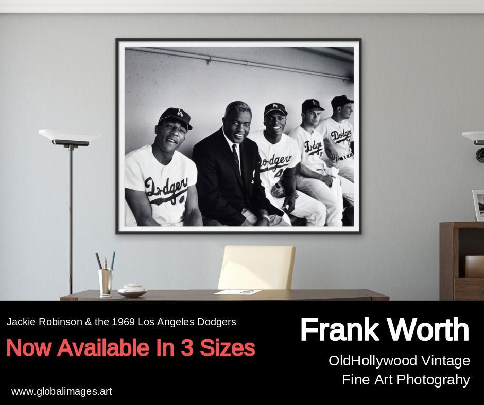 """Jackie Robinson In Dugout With The 1968 Dodgers"" by Frank Worth Photography-Fine Art Print-Global Images Gallery-13x19-Fine Art Print-Global Images"