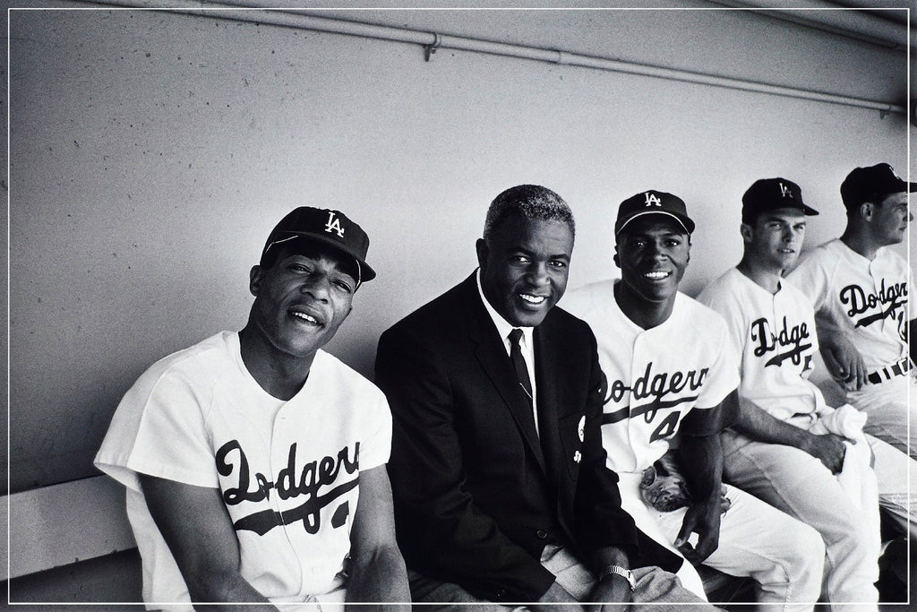 Jackie Robinson In Dugout With The 1968 Dodgers by Frank Worth, featuring Sweet Lou Johnson, Willie Davis, and Don Drysdale.