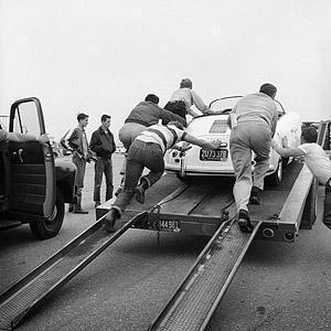 "Frank Worth Collection ""James Dean, Pushing Porsche On Trailer"" w/coa - Global Images Gallery"