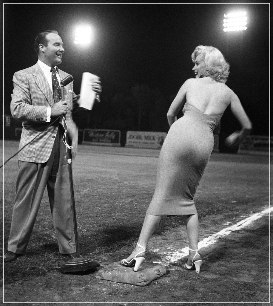 """Marilyn Monroe On Baseball Field"" by Frank Worth Photography featuring Ralph Edwards at the Hollywood Entertainers Baseball Game"