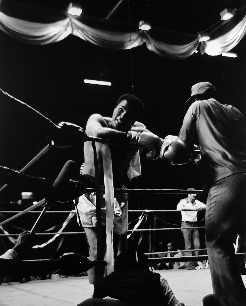 Whitaker Historic Photography: Muhammad Ali Smiling And Leaning On Rope-Fine Art Print-Global Images Gallery-16x20-50-In Stock-Global Images