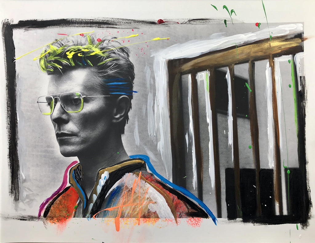 Photo Fusion: David Bowie Jail Cell-Limited Edition Embellished Print-Global Images Gallery-13x19-Global Images