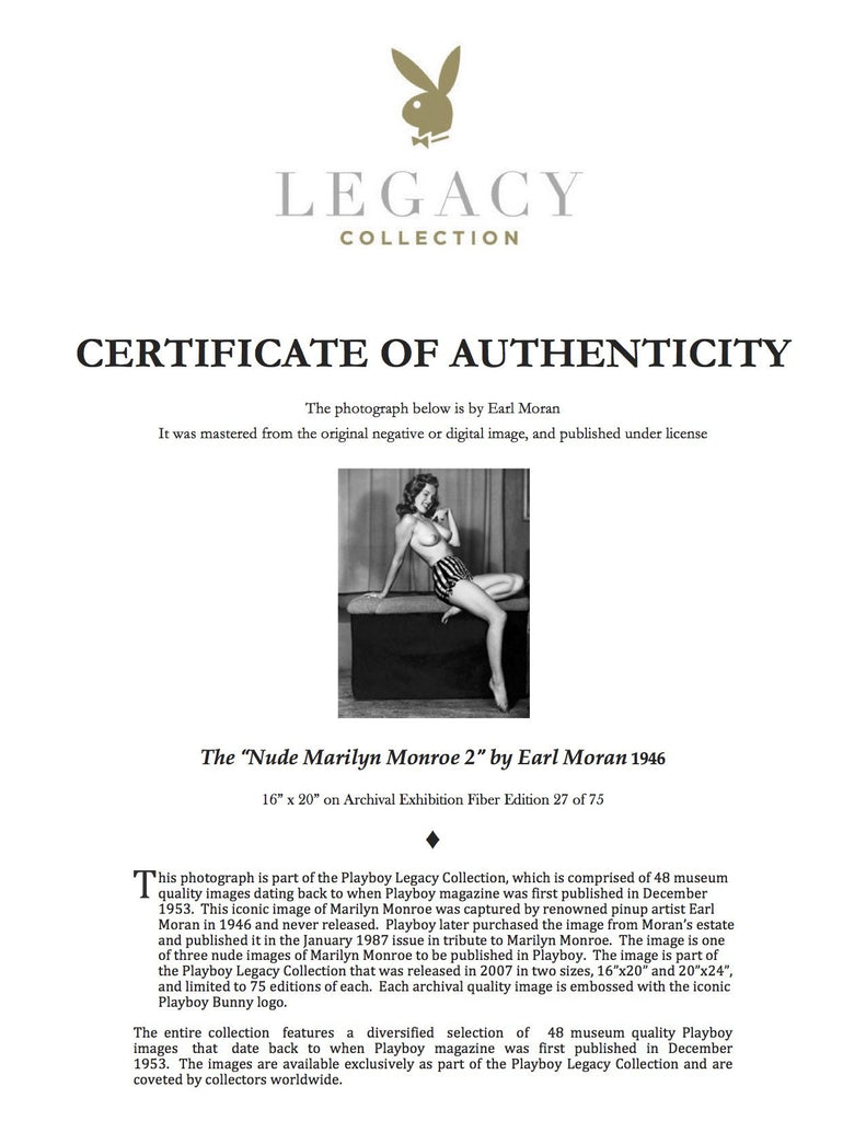 "Playboy Legacy Collection ""The Nude Marilyn II"" w/coa - Global Images Gallery"