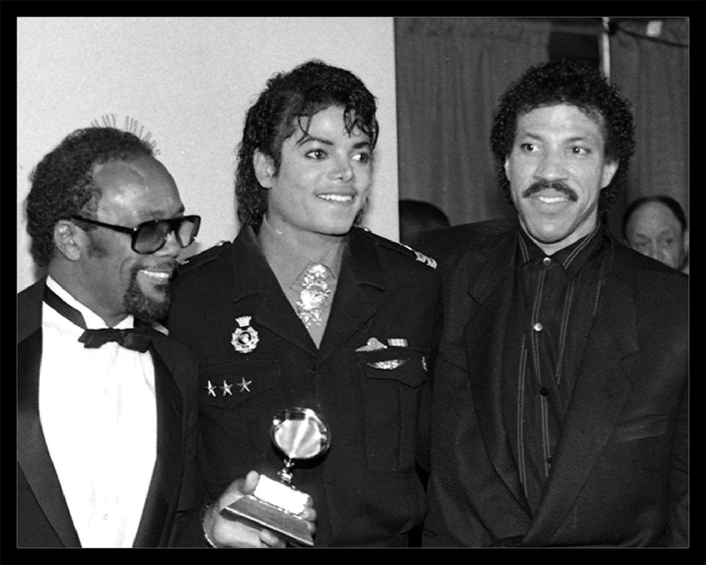Whitaker Historic Photography: Quincy Jones, Michael Jackson and Lionel Richie-Fine Art Print-Global Images Gallery-16x20-In stock-Global Images