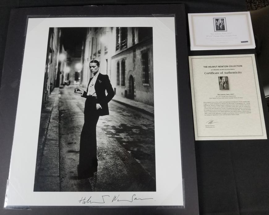 "Rare Signed ""Rue Aubriot, Parisian Street 1975"" 20x24 Vintage Silver Gelatin Print by Helmut Newton Photography (Inquire for Pricing)-20x24 Signed Vintage Silver Gelatin-Global Images Gallery-Global Images"