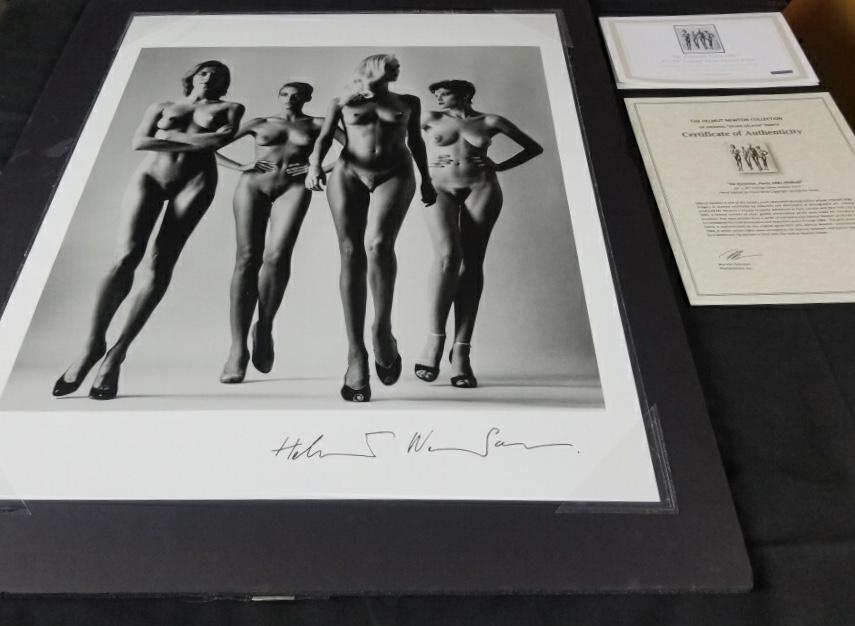 "Rare Signed ""Sie Kommen, Paris 1981"" 24x20 Vintage Silver Gelatin Print by Helmut Newton Photography (Inquire for Pricing)-20x24 Signed Vintage Silver Gelatin-Global Images Gallery-Global Images"