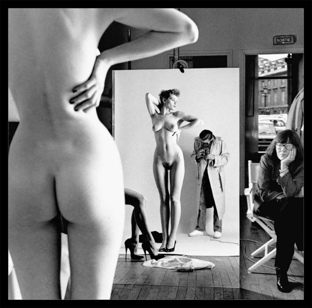 """Self Portrait with Model and Wife, 1981"" 16x20 Vintage Silver Gelatin Print by Helmut Newton Photography-Global Images Gallery-Global Images"