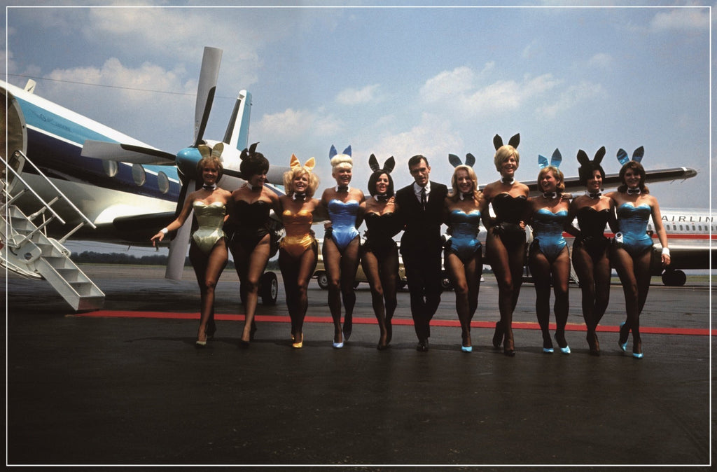 """The Big Bunny Hop"" Hugh Hefner & Bunnies by Pompeo Posar-Global Images"