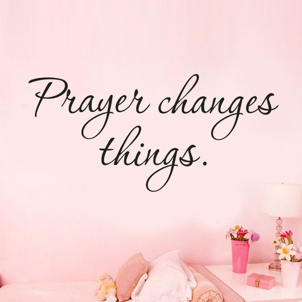 wall sticker quotes Prayer Changes Things Removable Art Vinyl Mural Home Room home decoration muursticker posters #303