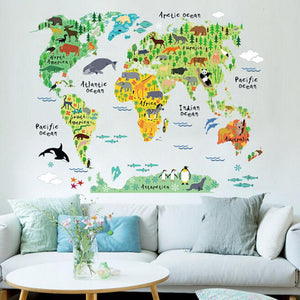 Animal World Map wall sticker stickers for kids rooms bedroom cartoon Home Decor living rooom carte du monde adesivo de parede