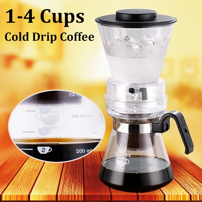 600ml Dutch Coffee Cold Water Drip Brewer Maker Machine Serve For 1-4 Cups New