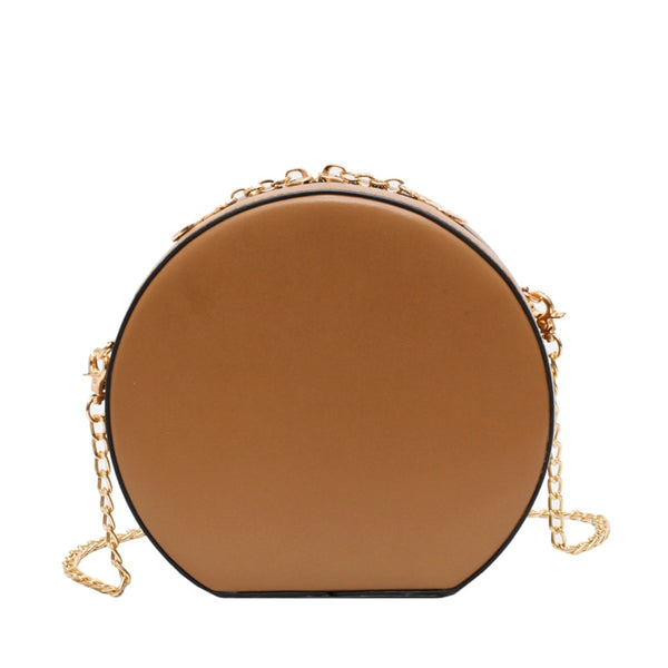 sac rond cuir fortunia marron