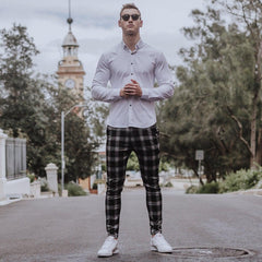 Black and White Plaid Skinny Fit Chino Trouser Pants for Muscular Guys | Kojo