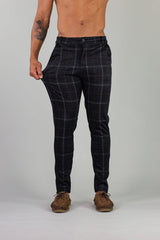 Black Check Stretch Mens Chino Pants