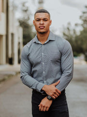 Muscle Fit Business Shirt Grey | Kojo Fit
