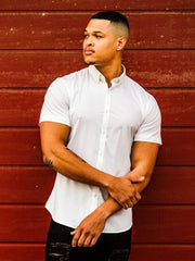 Muscle Fit Short Sleeve Button up Shirt in White | Kojo Fit