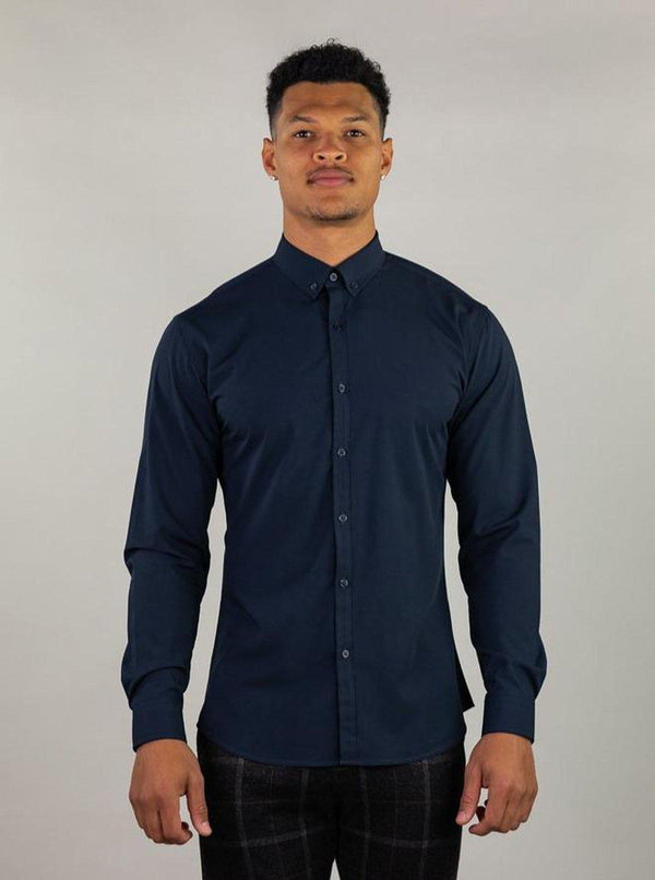 Navy Muscle Fit Dress Shirt | Kojo Fit