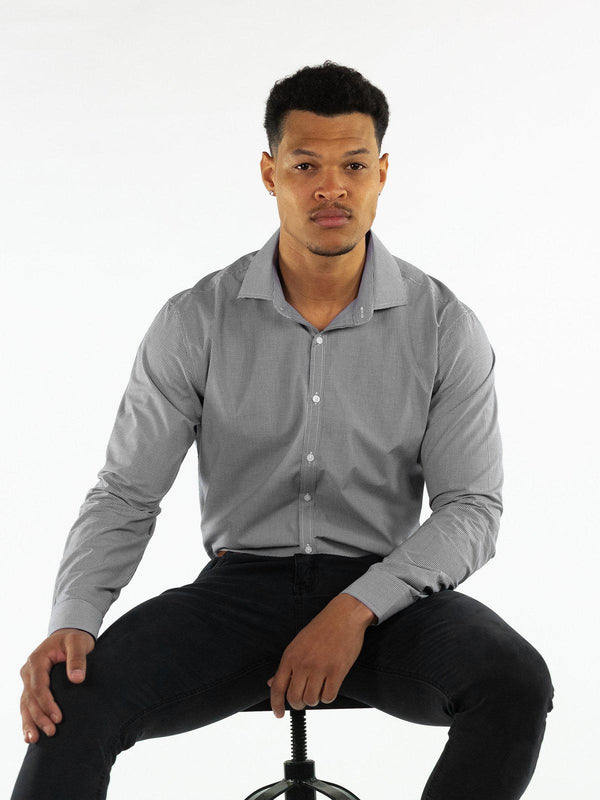 Bamboo Stretch Dress Shirt - Charcoal Grey Check-Kojo Fit