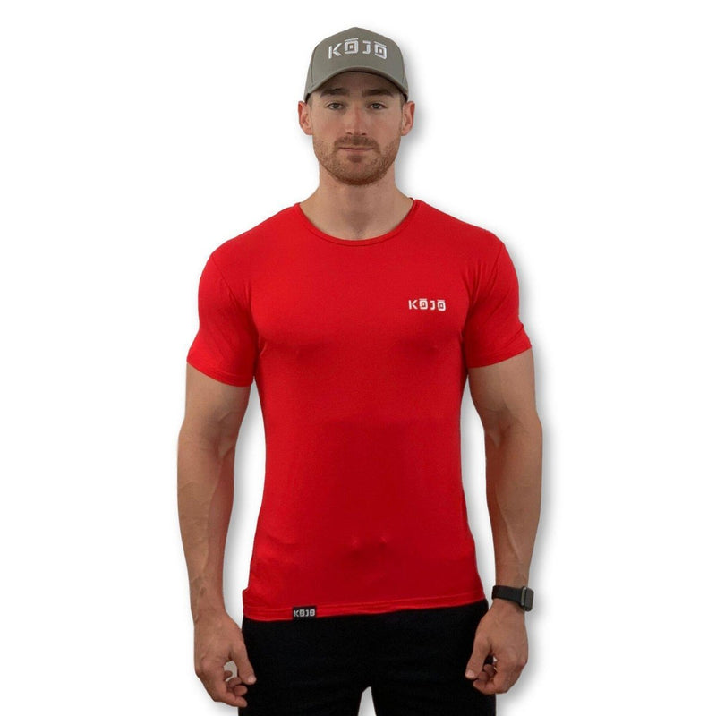 cherry red muscle fit tall gym t-shirt mens kojo bamboo