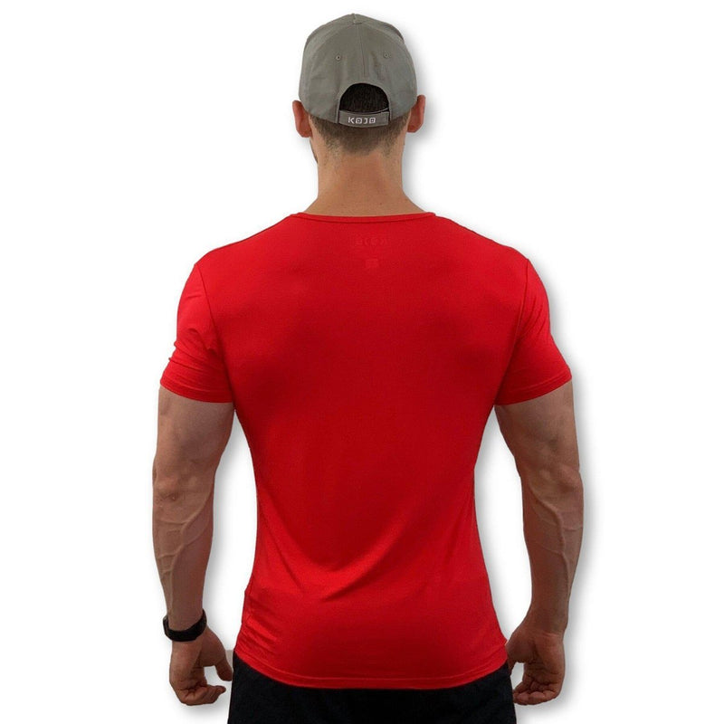 Best T-Shirt for bodybuilding - Muscle Fit - Bamboo - Cherry Red - Mens - Kojo Fit