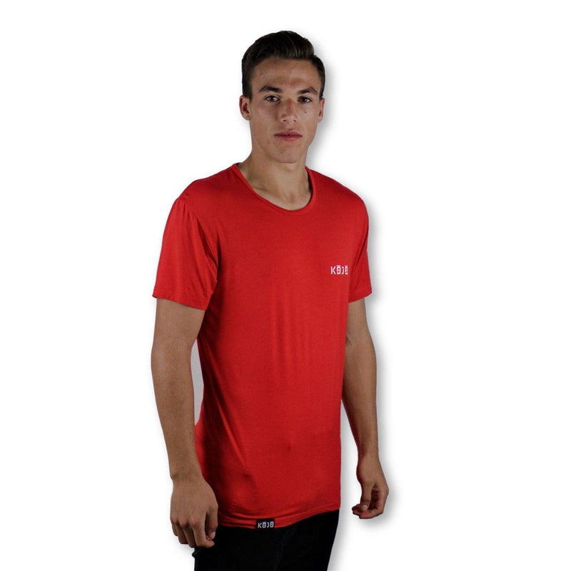 Find Best Tee for Muscular Guys - Muscle Fit - Bamboo - Cherry Red - Mens - Kojo Fit