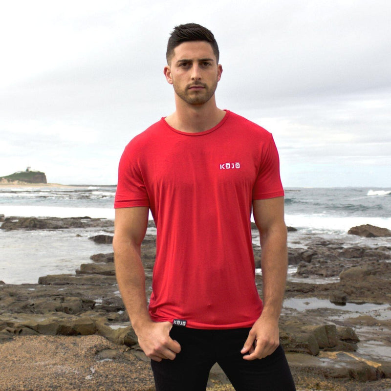 Find Best Tall Gym Tee - Muscle Fit T Shirt - Bamboo - Cherry Red - Mens - Kojo Fit