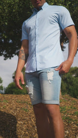 Kojo Fit |  Denim Stretch Mens Jeans Shorts