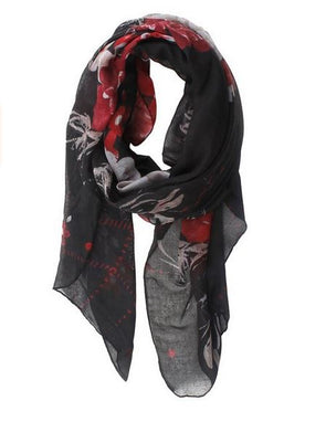 PEONY PRINT VOILE SCARF