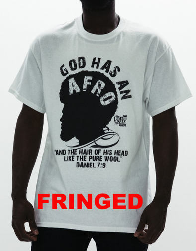 GOD HAS AN AFRO FRINGED T-SHIRT