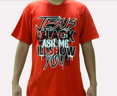 JESUS IS BLACK FRINGED T-SHIRT