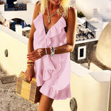 Bohemian Sleeveless Ruffle Mini Sun Dress