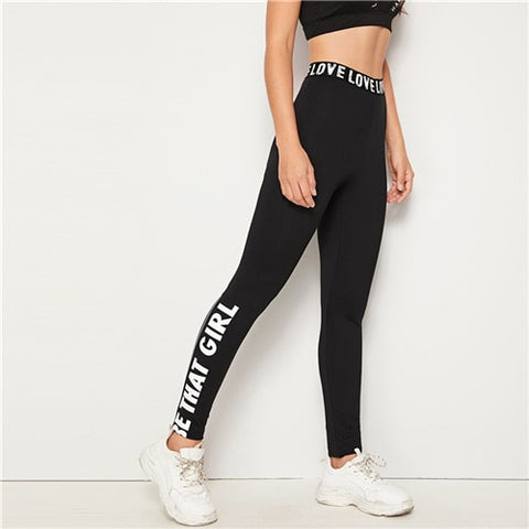 """Be That Girl"" Slogan Print Legging"