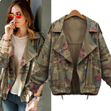 Autumn Loose Batwing Sleeve Camouflage/Floral Jacket