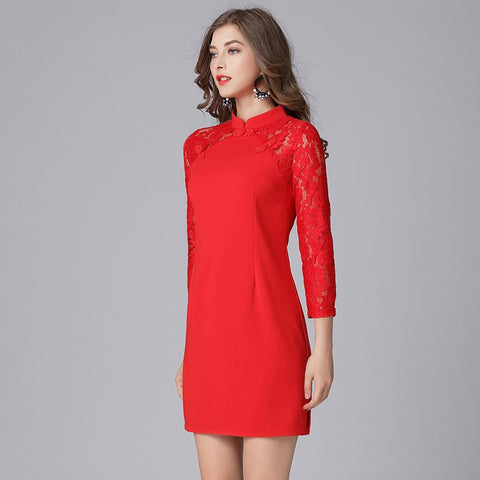 Red Lace Tunic Dress