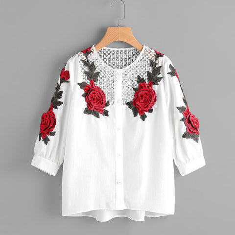 Long Sleeve Rose Embroidered Top