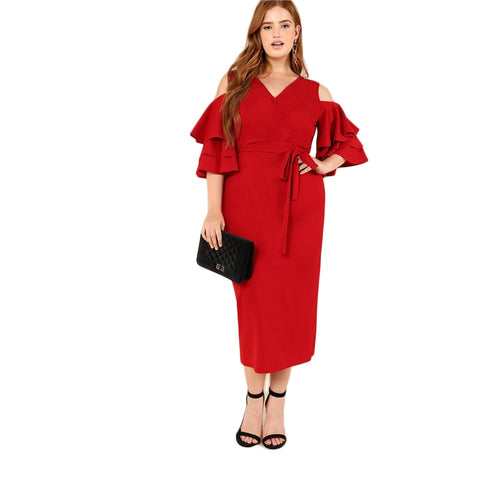 Red Cold Shoulder Ruffle Wrap Dress
