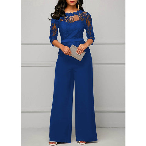 Lace Wide Leg Jumpsuit - Available in Plus Sizes