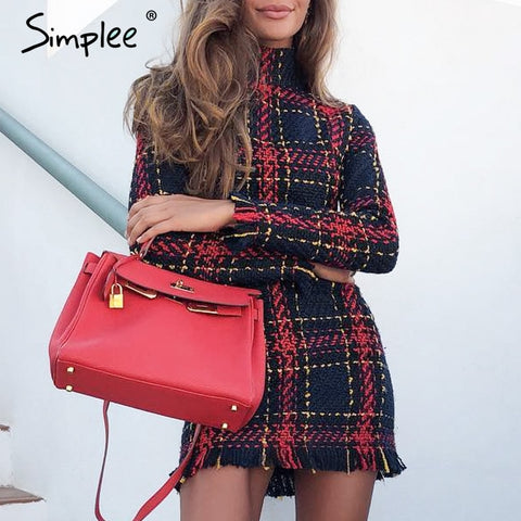 Simplee Elegant Plaid Dress