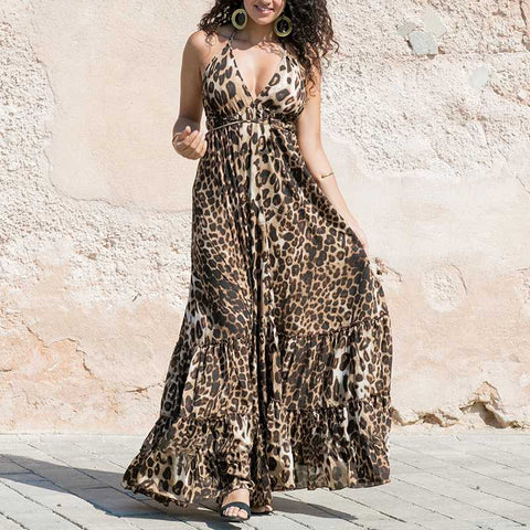 Leopard Printed Summer Maxi Dress