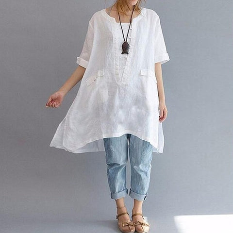 Linen Baggy Irregular Hem Shirt