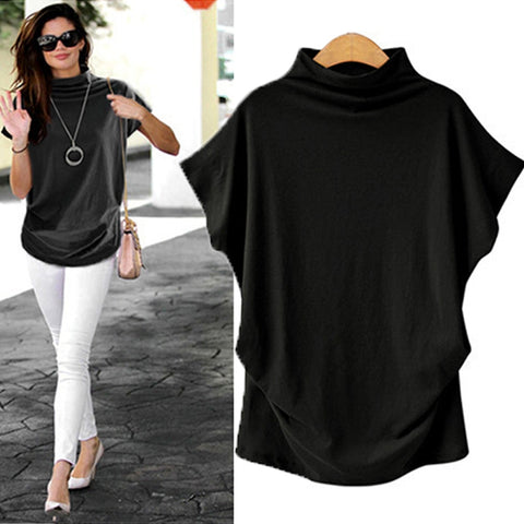 Turtleneck Batwing Sleeve T-shirt