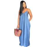 Boho Summer Long Denim Maxi Dress