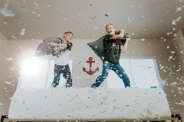 Hyperactive kids in a pillow fight