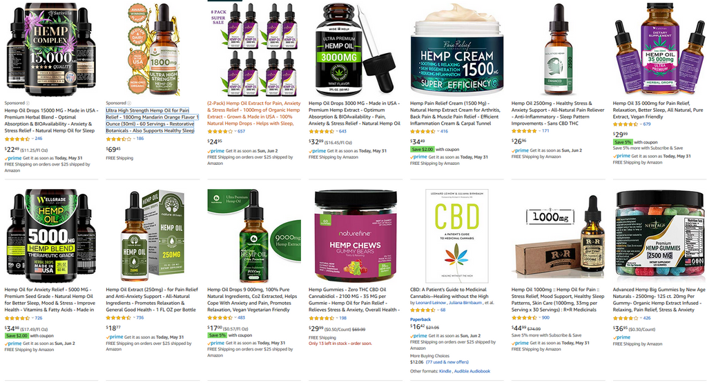 "Amazon 1st page search for ""CBD"""