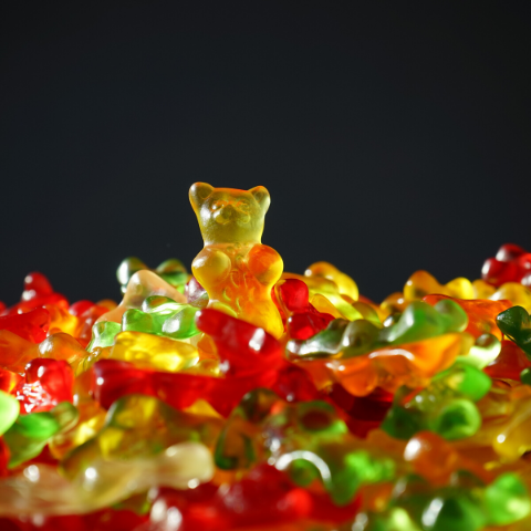 Red and yellow CBD gummy bears